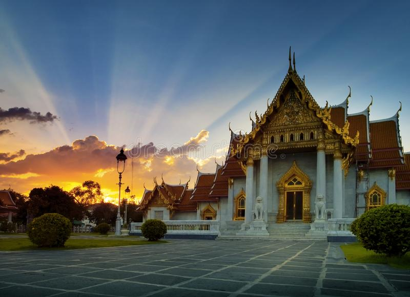 Beautiful sunset sky and at wat benchamabophit ,marble temple on royalty free stock image