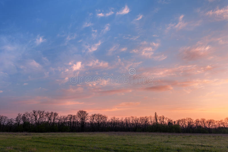 Beautiful sunset. Spring landscape with trees, blue sky and clouds. Beautiful sunset. Spring landscape with trail, trees, blue sky and clouds in Ukraine stock photos