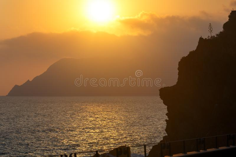 Sunset Vernazza, Cinque Terre. Beautiful sunset in summer Vernazza - one of five famous villages of Cinque Terre National Park in Liguria, Italy, suspended stock image