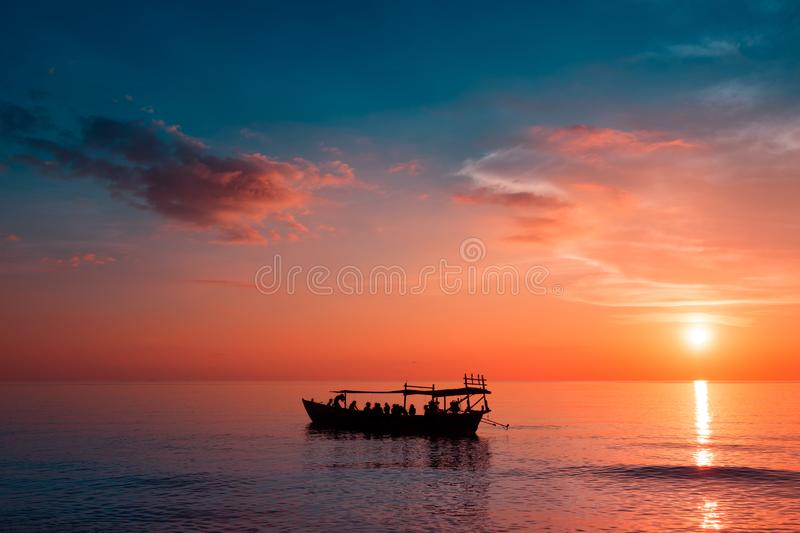 Beautiful Sunset at Sunset Beach with ship royalty free stock image