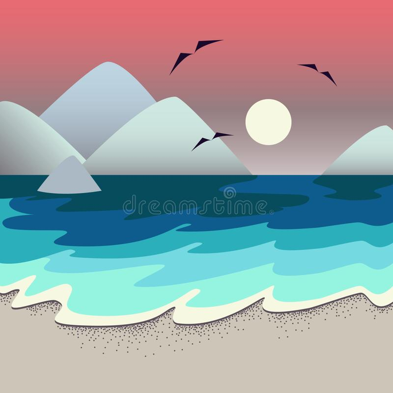 Beautiful sunset on tropical beach vector illustration