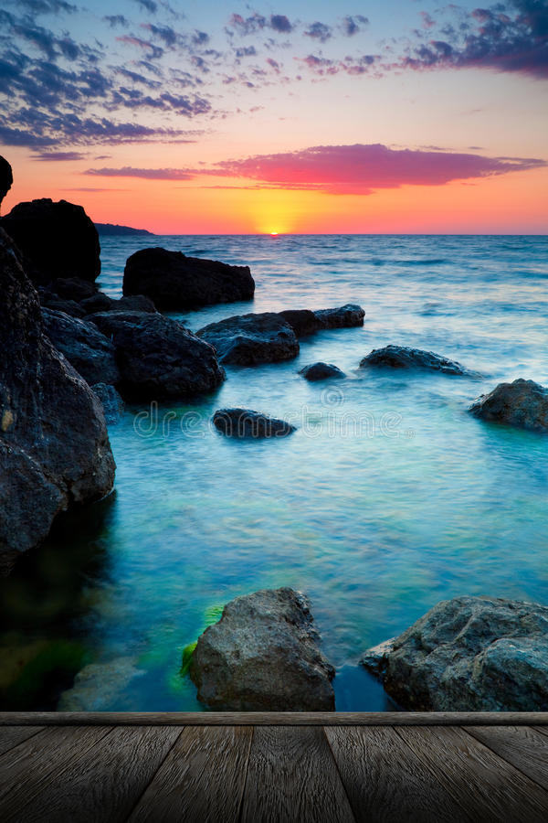 Beautiful sunset at tropical beach. stock photo