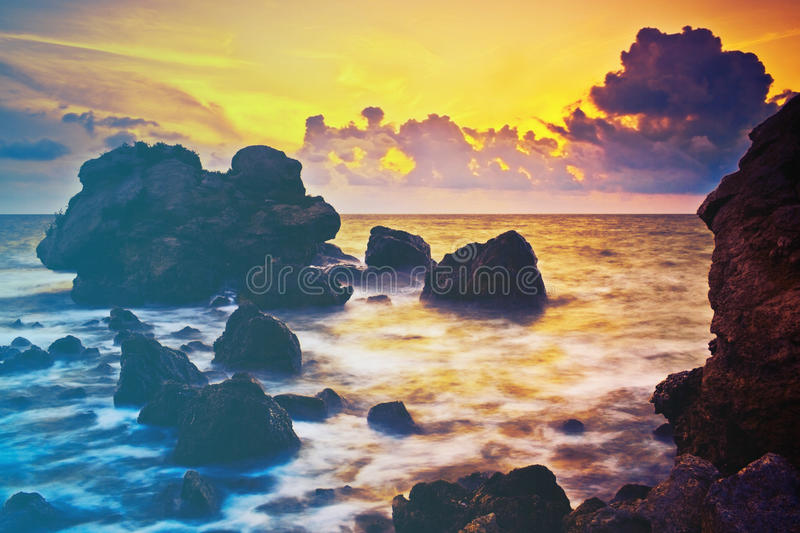 Beautiful sunset at tropical beach. stock images