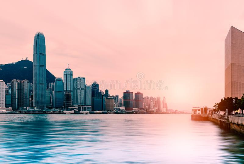 Beautiful sunset at Victoria harbour , Hong Kong royalty free stock images