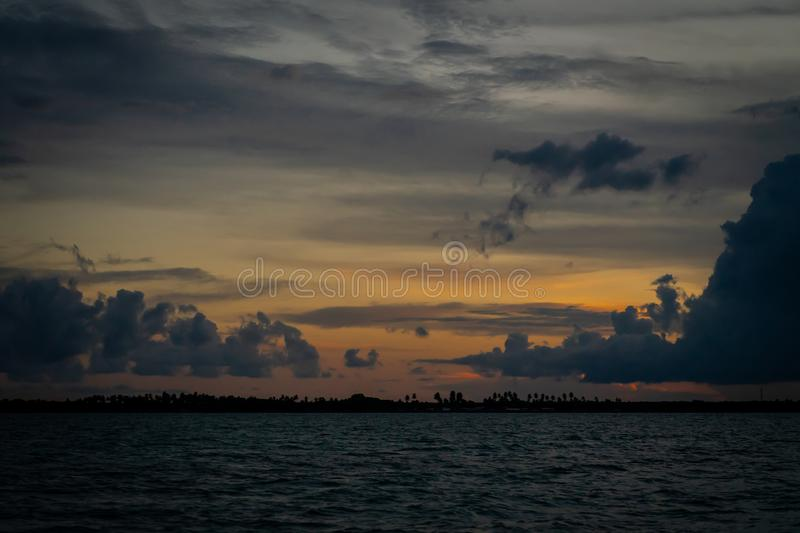 Beautiful sunset view in Egang - Egang, near Bum - bum Island , Semporna. Sabah, Malaysia. Borneo stock photography