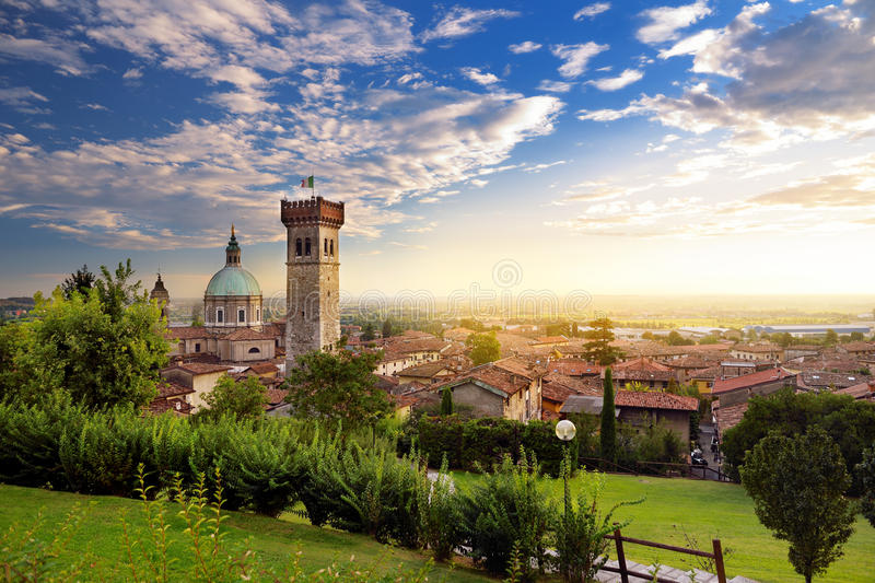 Beautiful sunset view of Lonato del Garda, a town and comune in the province of Brescia, Italy royalty free stock photos