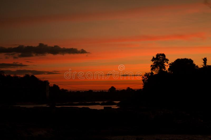 Beautiful sunset viewpoint above the river royalty free stock photos