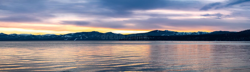 Beautiful sunset views of Lake Tahoe, California stock photo