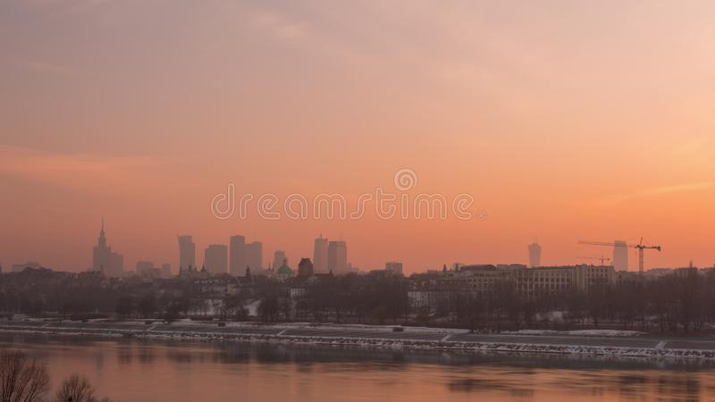 Sunset in the Warsaw City with River. stock photography