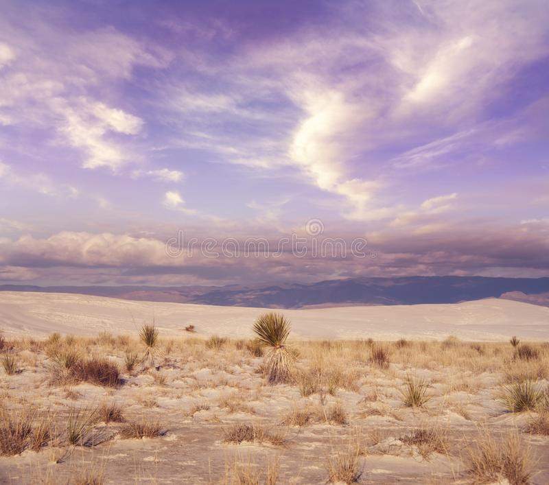 Beautiful sunset at White Sands National Monument stock photography