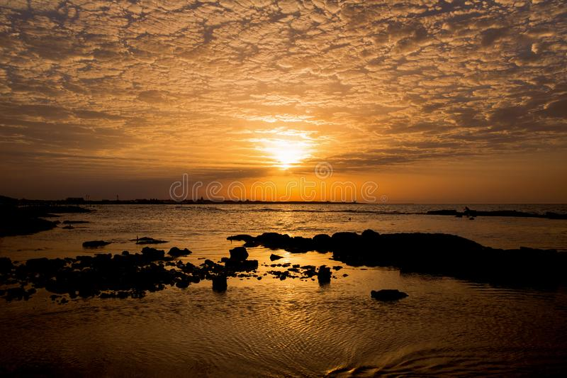 Beautiful sunset in yellow as background. Azerbaijan nature royalty free stock images