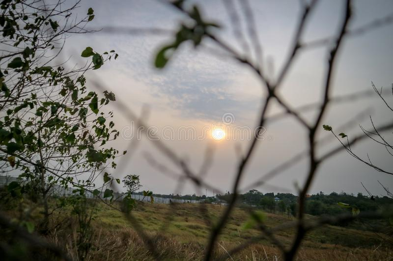 Beautiful sunsets with views of plant branches in the foreground. Photos taken in the Bekasi city - Indonesia royalty free stock photography