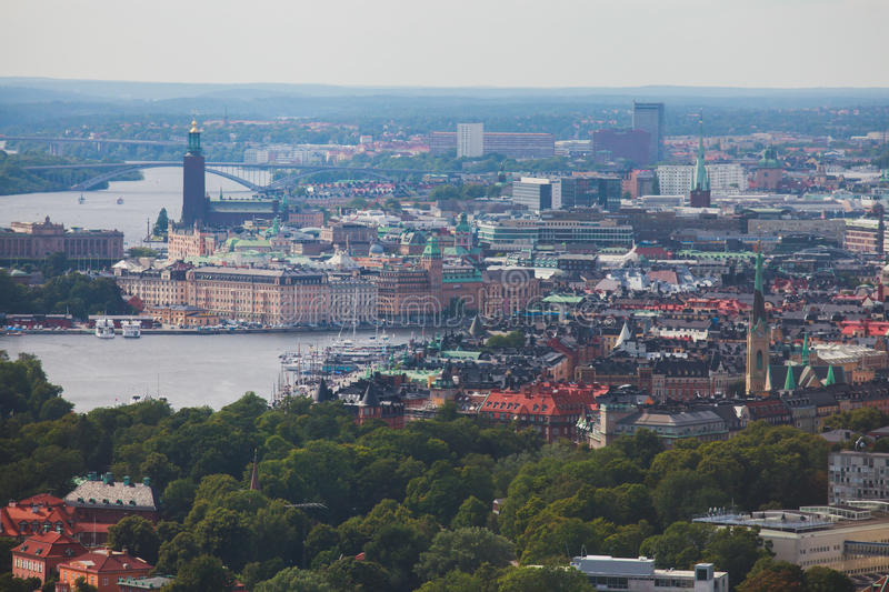 Beautiful super wide-angle panoramic aerial view of Stockholm. Sweden with harbor and skyline with scenery beyond the city royalty free stock photos