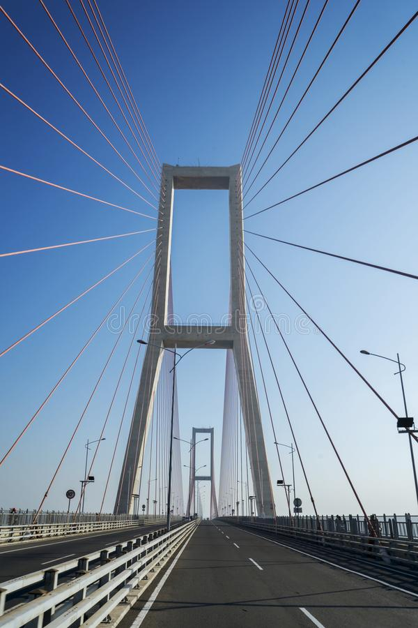 Beautiful Suramadu tollway with suspension cable stock images