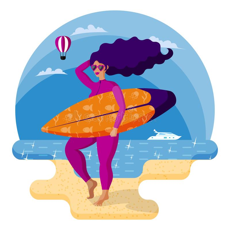 Beautiful surfer girl in pink wetsuit holding surfboard on the beach. Cartoon style illustration. Beach holidays, swimming accessories vector illustration