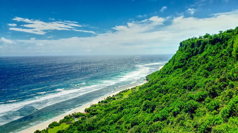 Beautiful surfing sand beach on sunny summer day stock photo