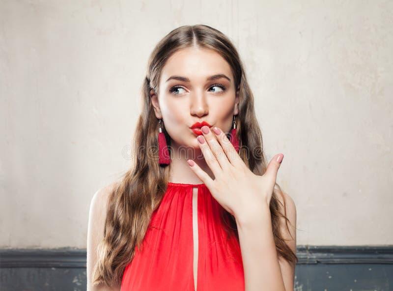 Beautiful Surprised Fashion Model Woman royalty free stock image