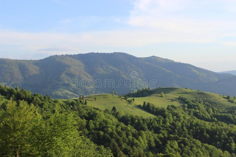 This beautiful suset in mountains stock photo