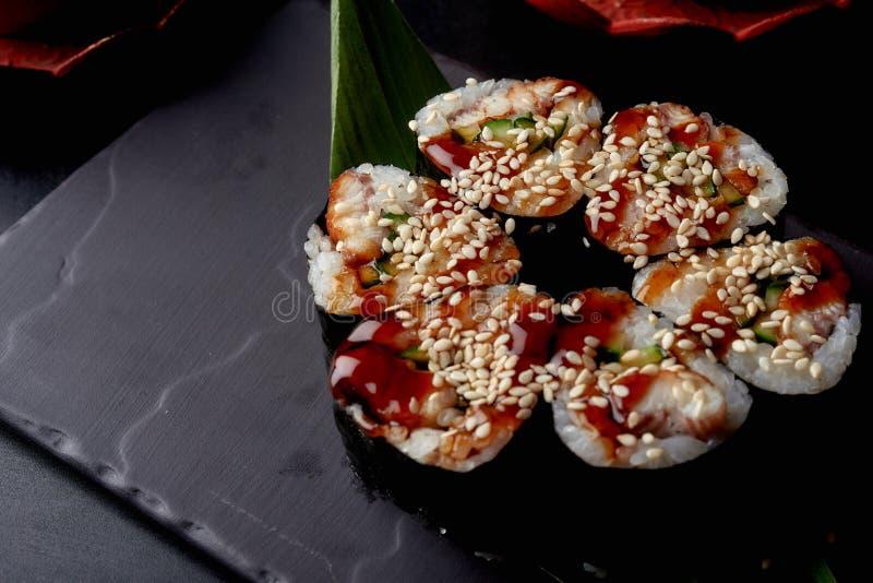 Beautiful sushi concept, set of sushi flower shaped stock photos