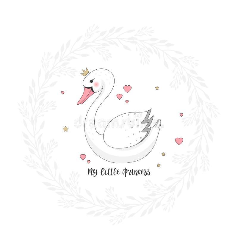 Beautiful swan cartoon with crown royalty free illustration