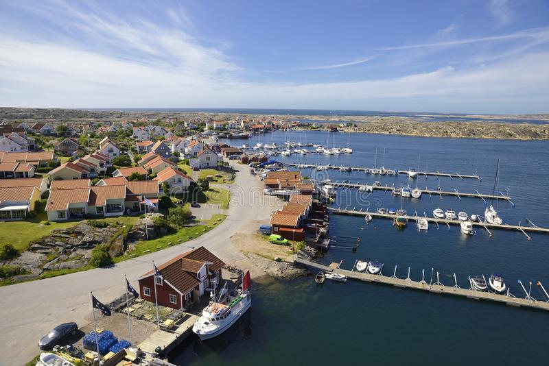 Beautiful Swedish landscape view of fishing houses at Kungshamn stock images