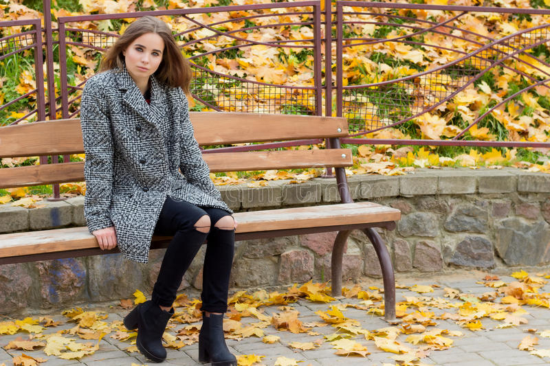 Beautiful sweet girl with the big sad eyes in coat sitting on the bench in the fall among the fallen yellow leaves autumn bright royalty free stock image