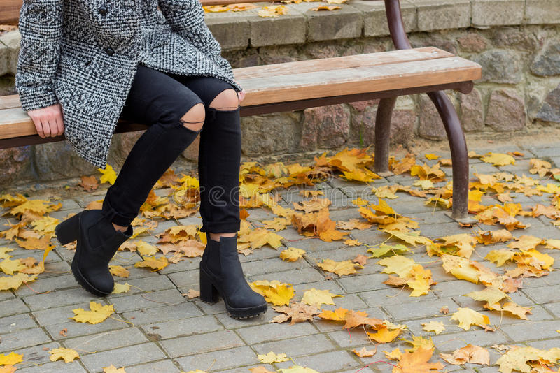 Beautiful sweet girl with the big sad eyes in coat sitting on the bench in the fall among the fallen yellow leaves autumn bright stock photo