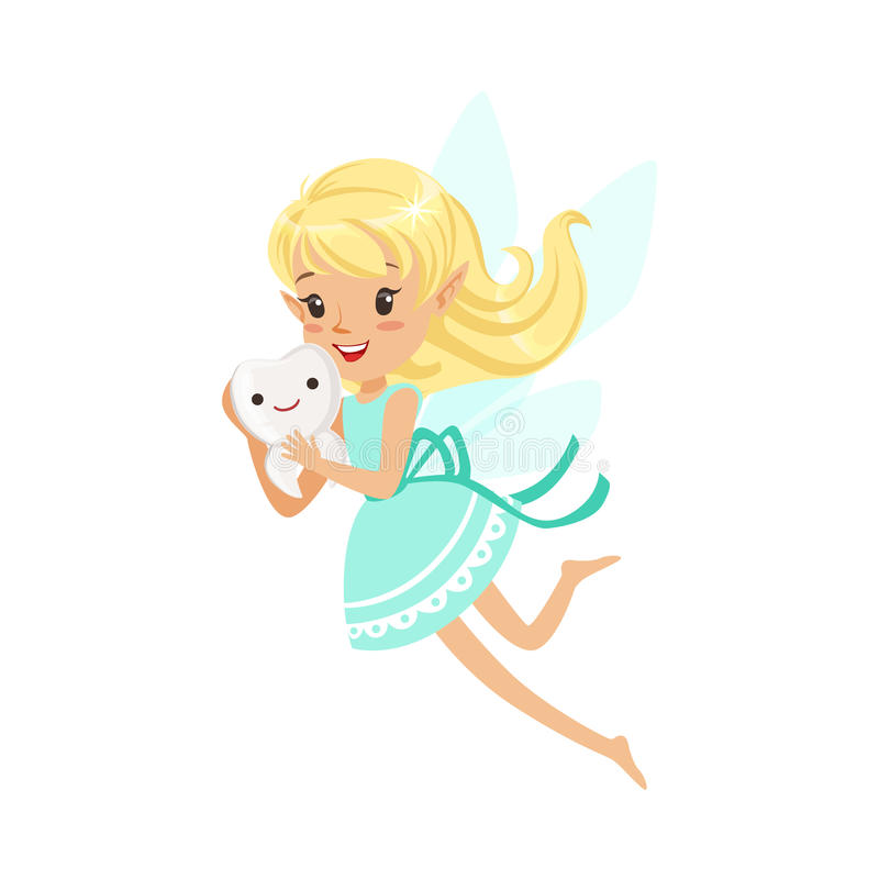 Free Beautiful Sweet Smiling Blonde Tooth Fairy Girl Flying And Holding Tooth Colorful Cartoon Character Vector Illustration Stock Images - 94678954