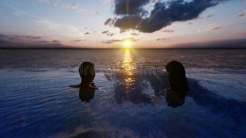 Beautiful swimming pool with bathing man and woman at sunset, on a lost tropical island. 3D Rendering vector illustration