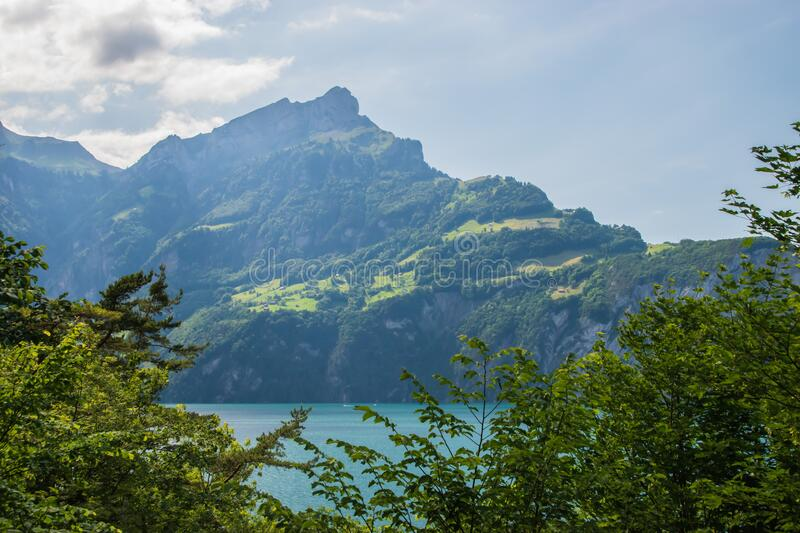 Beautiful swiss alpine landscape with lake Lucerne royalty free stock photography