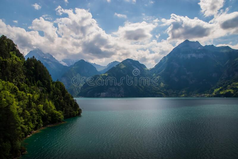 Beautiful swiss alpine landscape with lake Lucerne royalty free stock photo