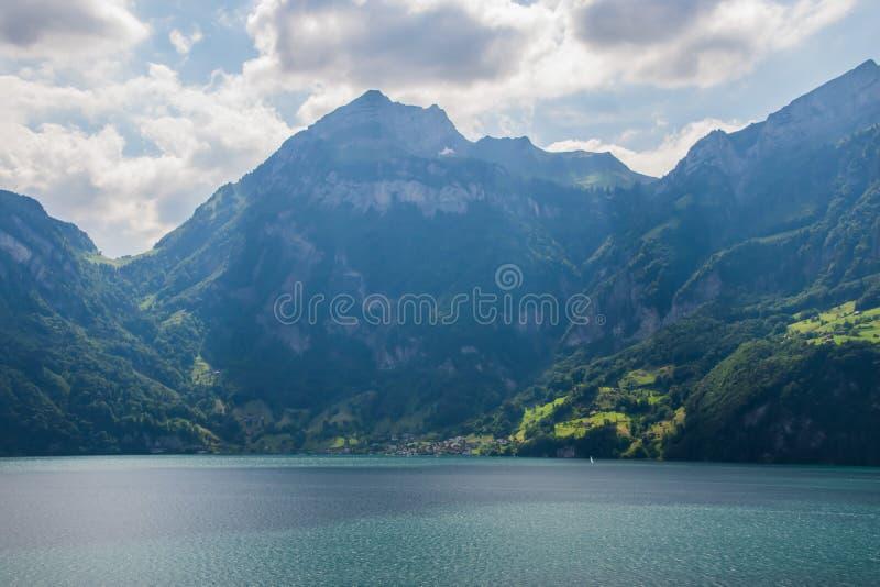 Beautiful swiss alpine landscape with lake Lucerne stock photos