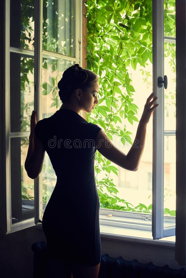 Beautiful sylph brunette woman with make royalty free stock photography