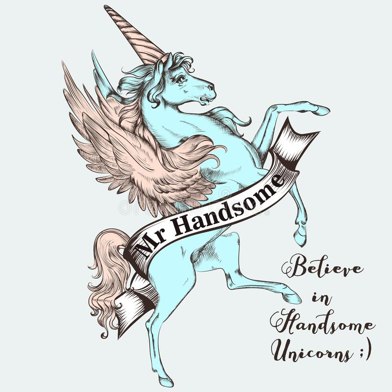 Beautiful T-shirt print vector design with blue unicorn. Believe royalty free illustration