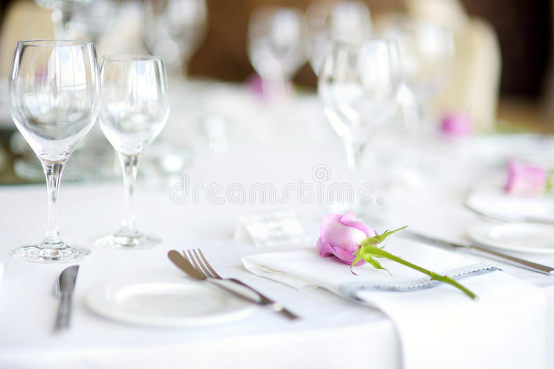 Beautiful table set for some festive event, party or wedding. Reception royalty free stock image