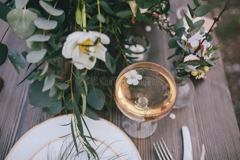 Apricot flower in the glass. Beautiful table setting. top view. Apricot flower in a champagne glass, . The effect of film photography stock image