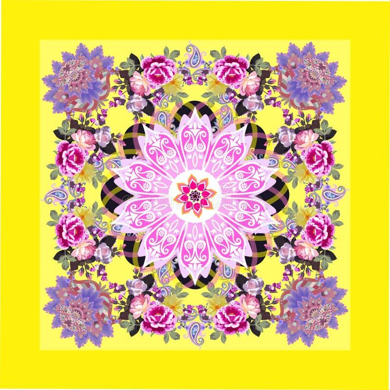 Free Beautiful Tablecloth, Napkin, Bandana Or Carpet With Mandala, Paisley, Luxury Bunches Of Garden Flowers On Lemon Yellow Background Stock Photography - 161520012