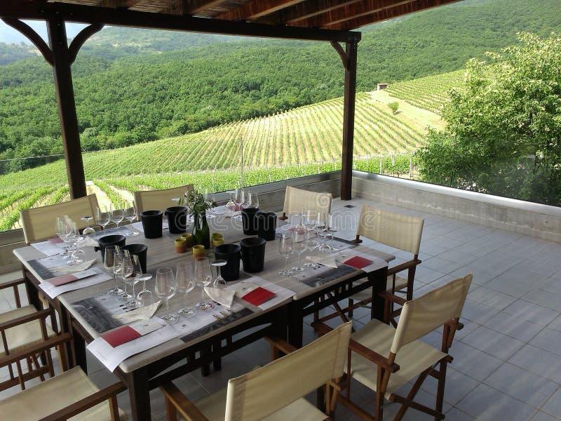 Beautiful tablein the vineyards Greece royalty free stock image