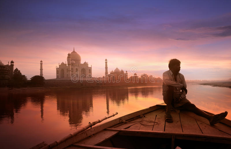 Beautiful Taj Mahal. Taj Mahal is listed among the 7 wonders of the world. Here is a beautiful view of the Taj from the banks of holy river Yamuna stock photography