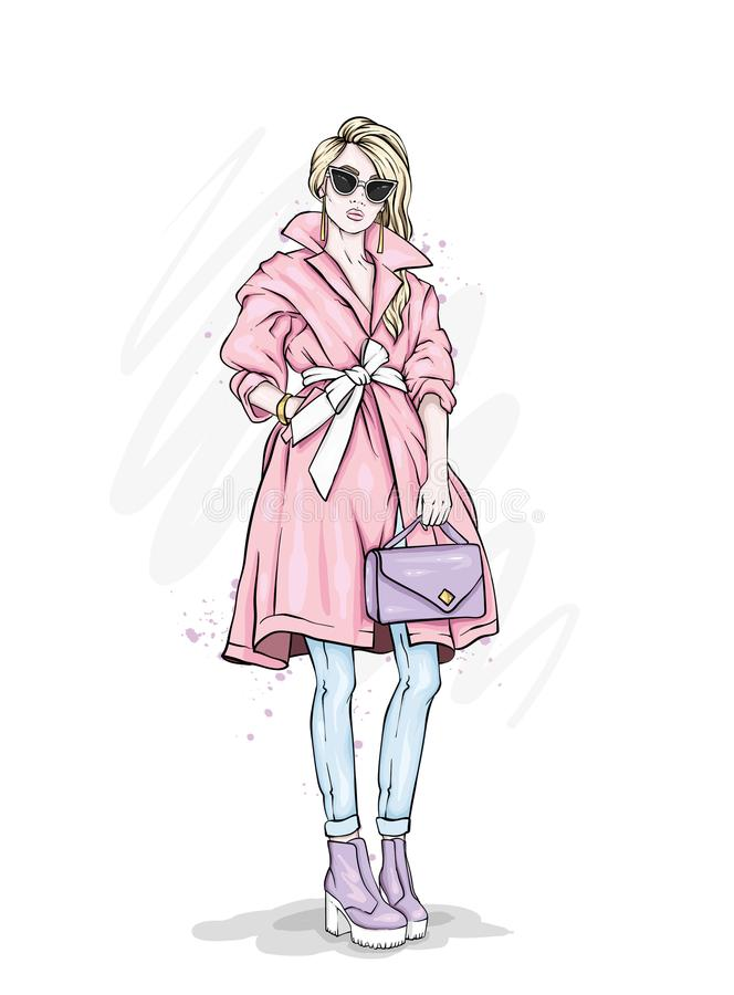 Beautiful, tall and slender girl in a stylish coat, trousers, glasses, with glasses. Stylish woman in high-heeled shoes. stock illustration