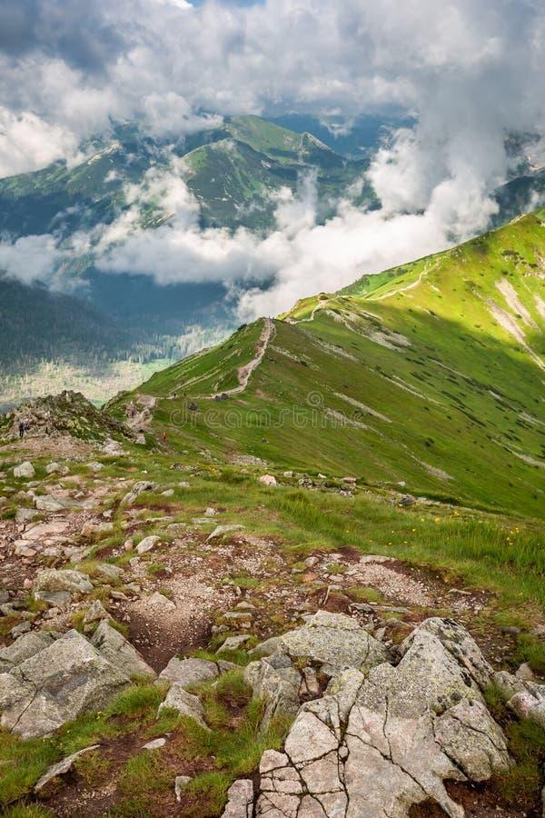 Beautiful Tatra mountain view to ridge and footpath, Poland royalty free stock image