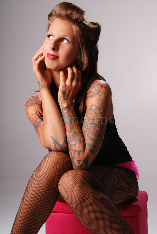 Download Beautiful tattooed woman. stock image. Image of unique - 7799219