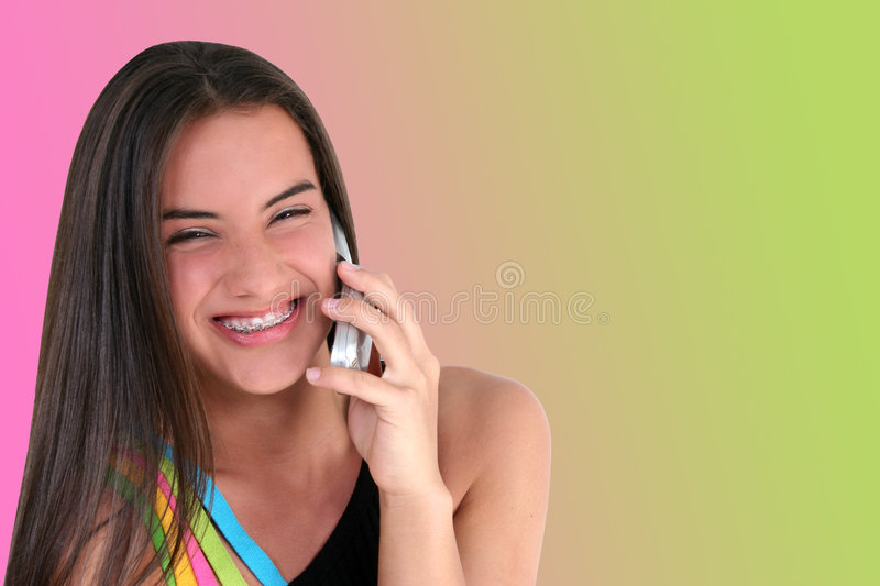Beautiful Teen With Cellphone stock image