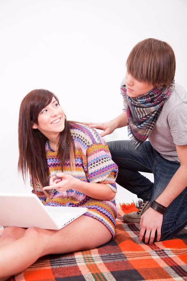 Download Beautiful Teen Girl And Boy With Computer Royalty Free Stock Photos - Image: 12826188
