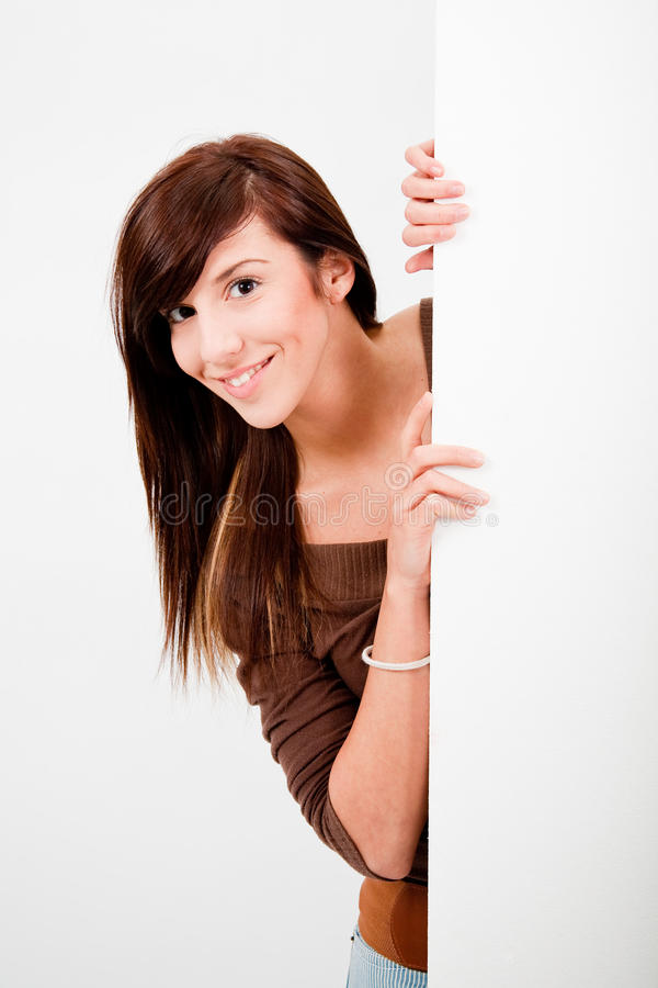 Free Beautiful Teen Girl Peek Royalty Free Stock Photo - 12825885