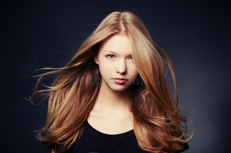 Beautiful teen girl portrait. With windy hair stock photo