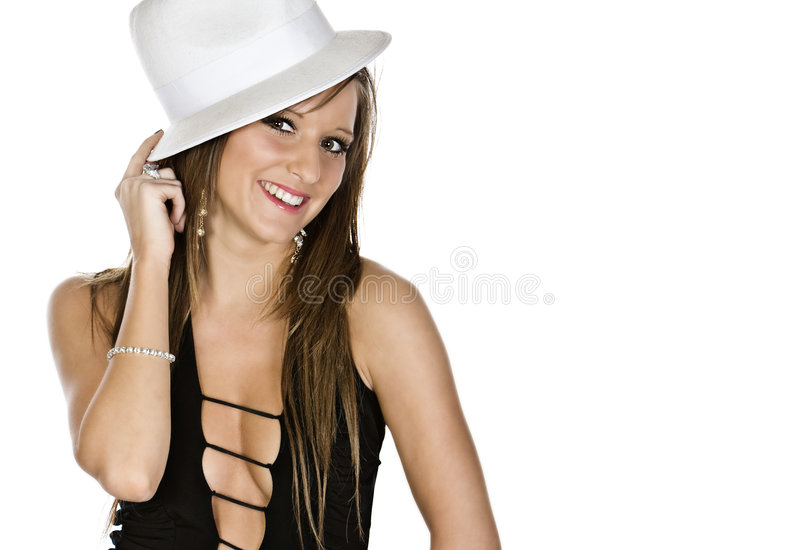Beautiful Teen Girl with White Hat. Against White Background stock photo