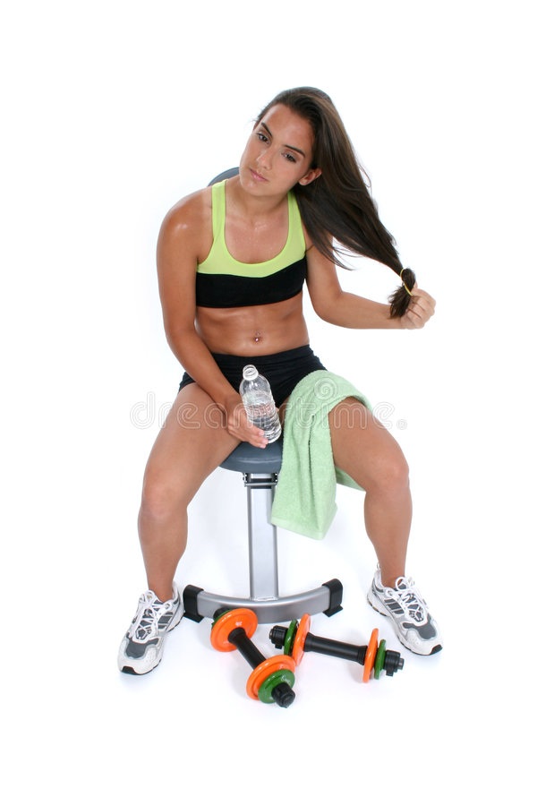Beautiful Teen Girl After Workout Letting Hair Down stock photo