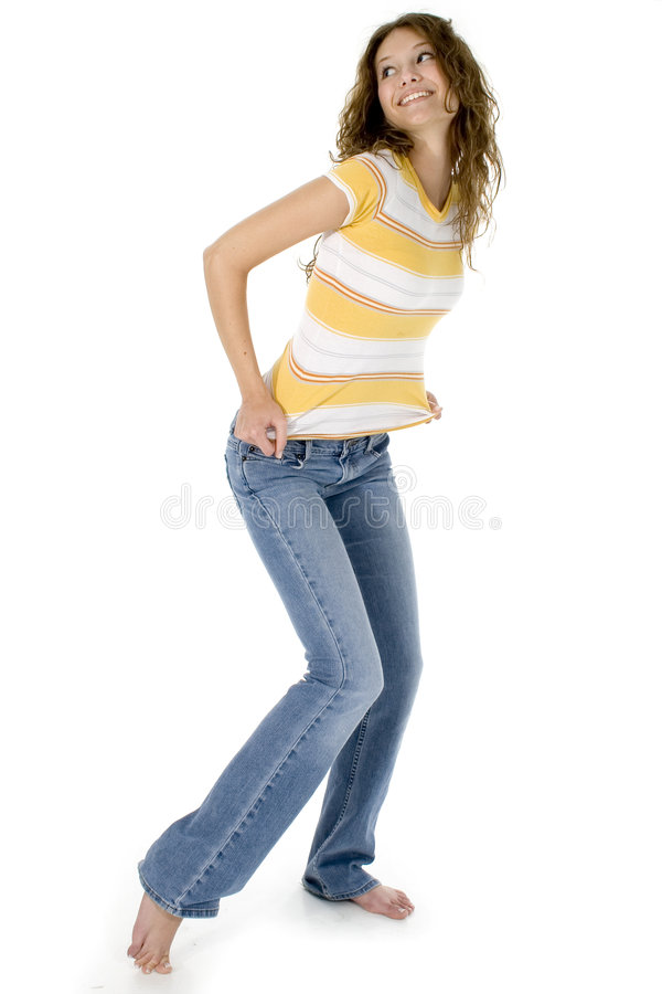 Beautiful Teen in Jeans stock photo