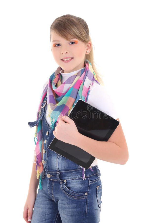 Download Beautiful Teenage  Girl Holding Tablet Pc Over White Stock Image - Image: 28937247